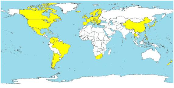 Pays où le MS-PCV2 a été diagnostiqué (en jaune)