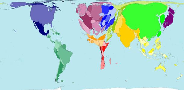 Carte de la consommation mondiale de viande