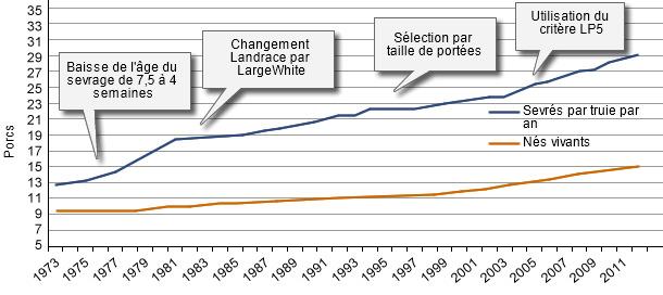 Evolution du niveau de production des élevages danois au cours des 40 dernières années.