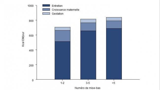 Répartition des besoins d'énergie (EM, kcal/jour) pendant les 2,5 derniers mois de gestation pour une truie jeune, adulte ou vieille.