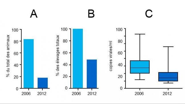 Niveaux de virémie PCV2 en 2006 et 2012