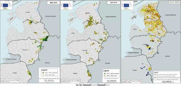 Graphiques 4,5 et 6 : Evolution des foyers de Peste Porcine Africaine de 2014 à ce jour. (Source : Commission Européenne)