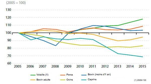 <p>Production de viande de porc de l'UE (2005-2015)</p>