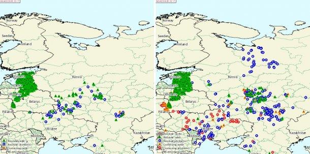 Foyers de PPA en Russie et Ukraine en 2015 et 2016 1