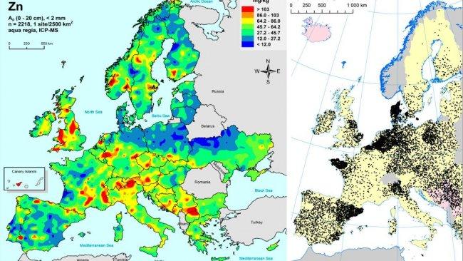 A gauche: Zinc dans les sols agricoles de ll'UEE (Gemas 2014): Niveaux de zinc à la surface du sol (20 cm supérieurs) dans les terres agricoles en Europe (à partir de Reimann et al., 2014). A droite: Elevages porcins dans l'UE (Eurostat, 2014).