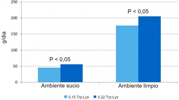 Figure1 – Effet du rapport Trp/Lys dans l'aliment sur le taux de croissance en phase de prédémarrage dans deux ambiances différentes.