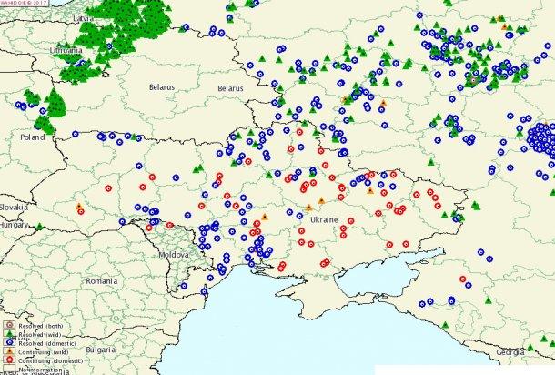 Zones touchées par la PPA depuis 2014. Lviv est l'unique oblast sans foyers de la maladie.