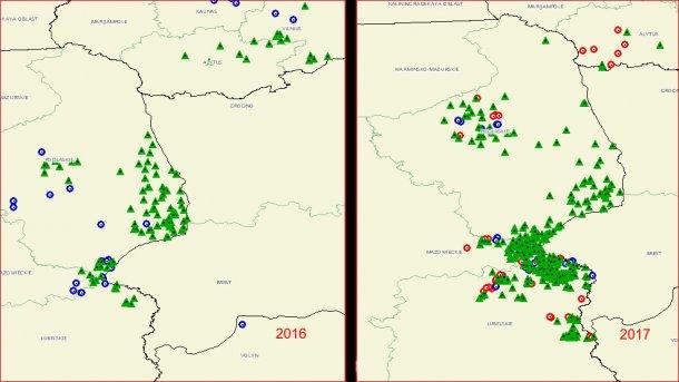 Propagation sur le territoire de la Pologne de la PPA. (Source: OIE)