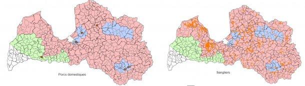 Situation épidémiologique de la PPA en Lettonie du 1er janvier au 17 septembre2017. (Source: Food and Veterinary Service. Republic of Latvia)