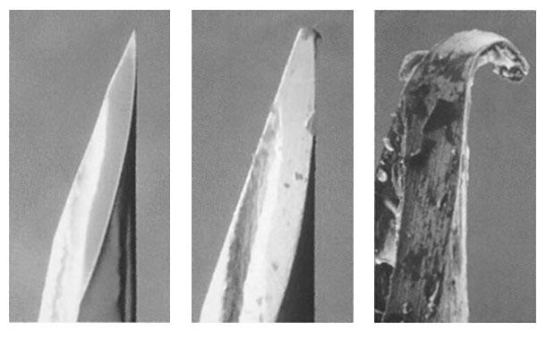 Figure 1 : Photos d'aiguilles hypodermiques qui montrent qu'elles peuvent être usées et ébréchées.