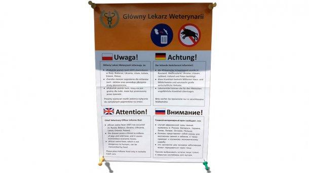 Message en Pologne mettant en garde contre la menace des sangliers pour la diffusion de la PPA. La menace que le PPA continue à diffuser dans le reste de l'Europe persiste.