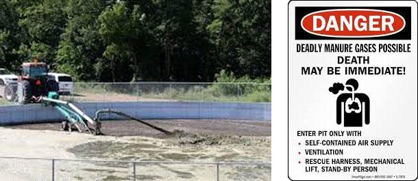 À gauche : Les concentrations de H2S peuvent être dangereuses pour les personnes qui se trouvent dans le sens du vent lorsque le lisier est agité. Droite : Un signal d'avertissement comme celui-ci, placé à l'extérieur du hangar de porcs, rappelle aux employés les mesures de sécurité à suivre.