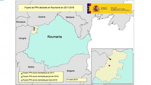 Foyers de PPA en Roumanie 2017-2018 (source RASVE-ADNS)