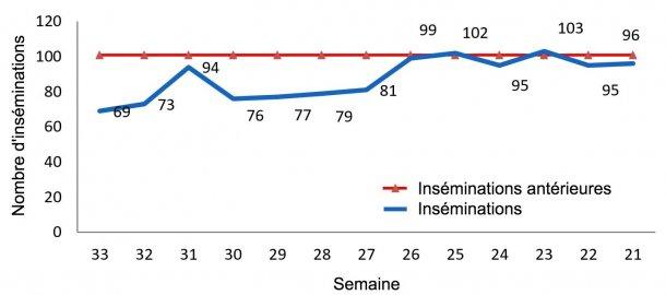 Graphique 1 : Evolution des inséminations dans l'élevage