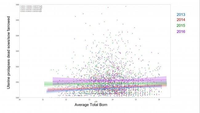 Figure 1. Résultats du modèle du pourcentage de truies mortes à cause du prolapsus utérin sur lenombre total de truies issues par rapport à la moyenne des nés totaux au cours des années (moyenne ± IC à 95%) 2014, 2015, 2016 et 2017