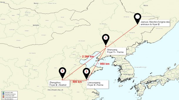 Carte de la localisation des foyers de PPA en Chine