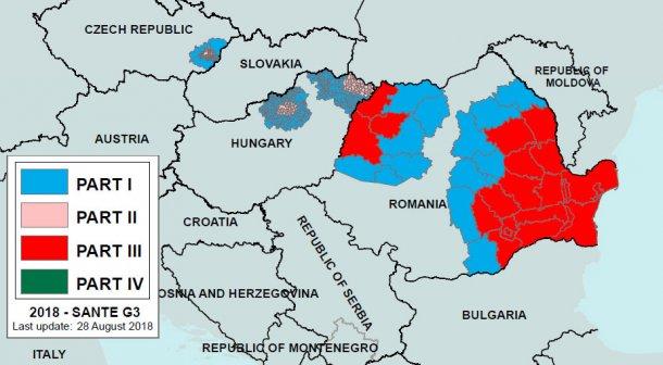 Image2. Régionalisation de la PPA en Roumanie et dans les pays voisins jusqu'au 28 août 2018. Première partie: zone à haut risque mais aucune épidémie. Partie III: zone avec foyers déclarés. Source : Commission Européenne.
