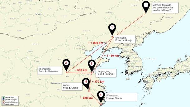 Carte de la situation des foyers de PPA en Chine
