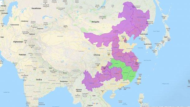 Les trois nouvelles provinces touchées sont Hubei, Jiangxi et Fujian.