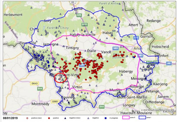 Localisation des prélèvements (négatifs en bleu et positifs en rouge pour la PPA) effectués sur des sangliers dans le Sud de la Belgique (les deux nouveaux cas entourés en rouge).