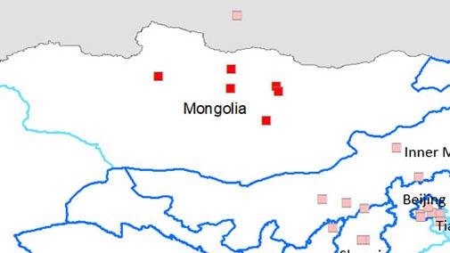 <p>Provinces touch&eacute;es : Bulgan, Orkhon, Tuv et Dundgovi, ainsi que dans le district de Bayangol, &agrave; Oulan-Bator.</p>