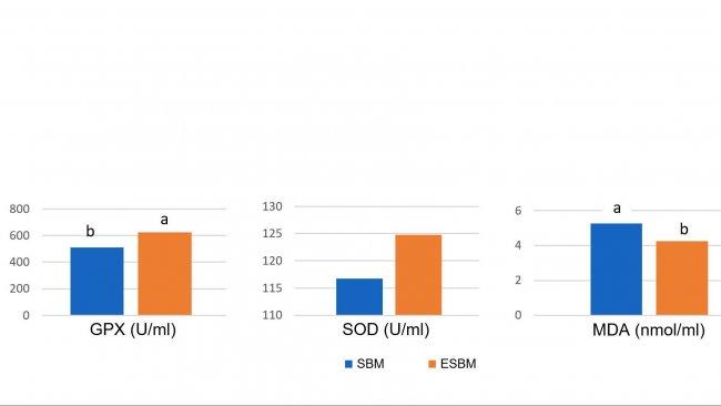 Graphique 1: L'alimentation avec du soja traité enzymatiquement avec une faible teneur en antigène de soja a entraîné des concentrations plasmatiques plus élevées d'enzymes antioxydantes et une réduction du malonyl dialdéhyde (MDA), marqueur des dommages oxydatifs, le 14e jour après le sevrage, par comparaison avec un tourteau de soja à forte teneur en antigène. (Ma et al., 2018)