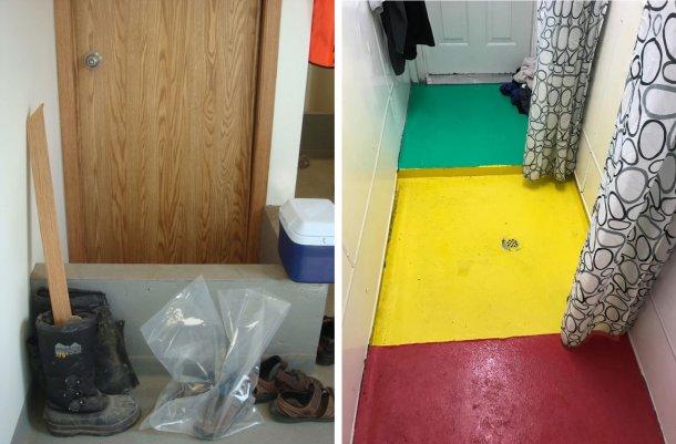 Gauche: Séparation des zones dans l'élevage. Le muret rappelle aux travailleurs le changement obligatoire de chaussures entre l'entrée de l'élevage(sale) et la zone de douche. Photo avec l'aimable autorisation du Dr Tim Snider. Droite: Exemple de séparation des zones à l'intérieur de la zone de douche. Rouge = zone sale; Jaune = zone intermédiaire; Vert = zone propre. Photo fournie gracieusement par Mike Luyks, Kaslo Bay, centre d'insémination PIC, Canada.