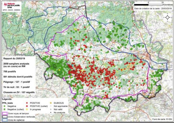 Carte de limite de zones et la localisation des sangliers prélevés en date du 25 mars 2019.