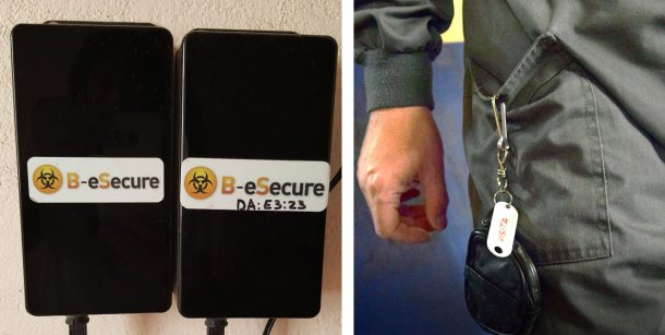 """Figure 1. Des dispositifs muraux ont été installés pour surveiller des pièces individuelles (à gauche), et les employés de la ferme ont utilisé les dispositifs de guidage (""""balises"""") individuellement (à droite)."""