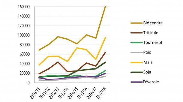Évolution de la collecte des principales céréales et oléoprotéagineux biologiques ( en France, y compris C2 ; par campagne et en tonnes)  Source : Ifip d'après FranceAgriMer