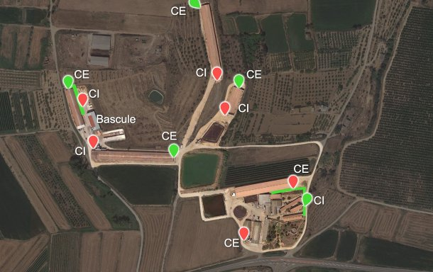 Image 6. Les nouveaux chargeurs proposés (pointes verts) et les deux plates-formes créées (également en vert) sont représentés en vert. CI: chargeur interne; CE: chargeur externe.