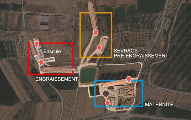 Image 2. Répartition des phases par bâtiments et quais de chargement d'origine (points rouges).