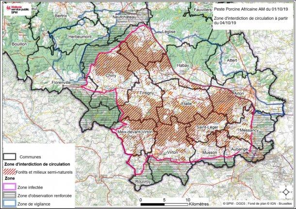 Carte des limites des zones de circulation à partir du 4 octobre 2019.